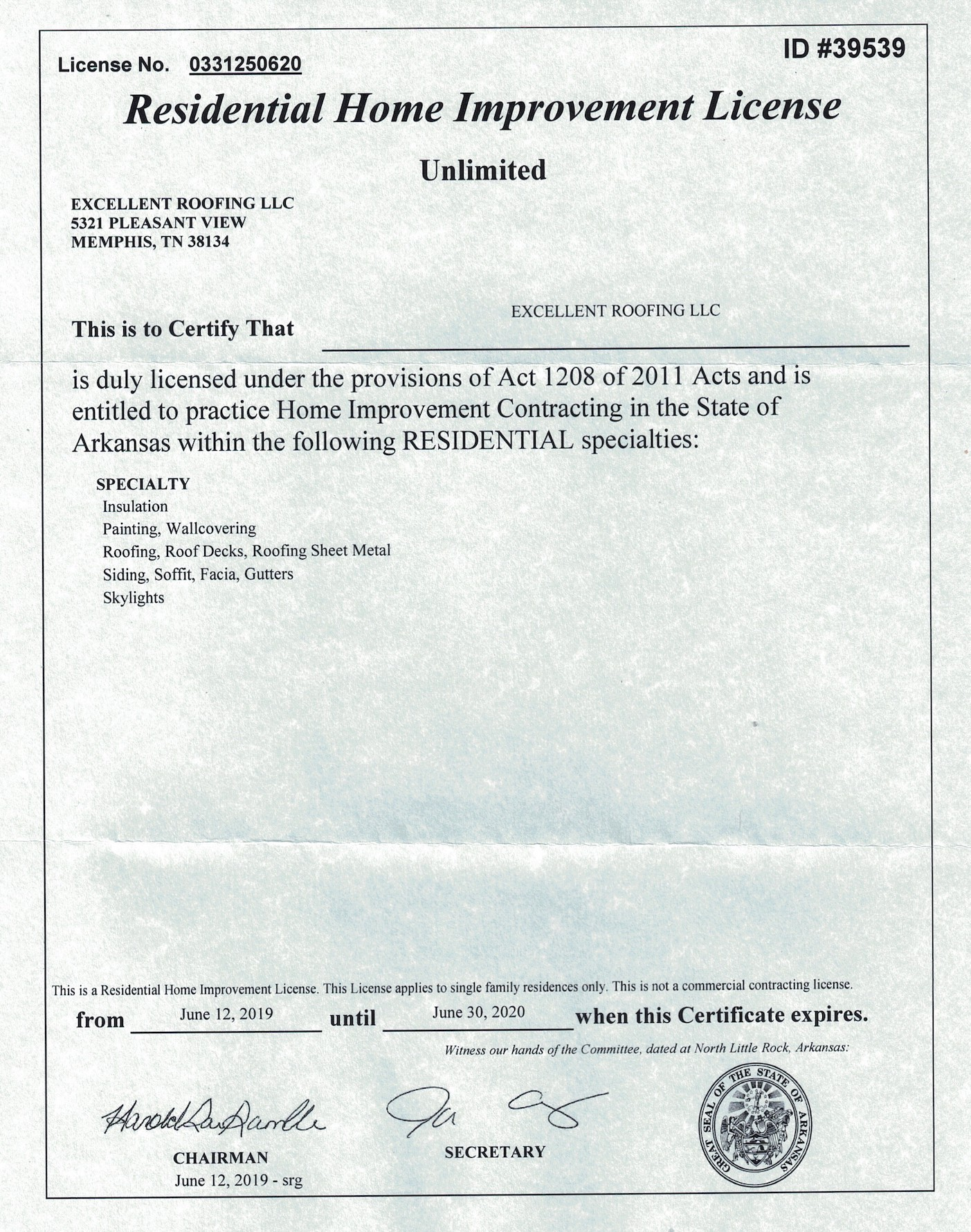 Excellent Roofing Arkansas Biz License 2019