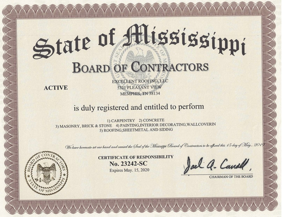 Excellent Roofing Ms Contractors License 2019