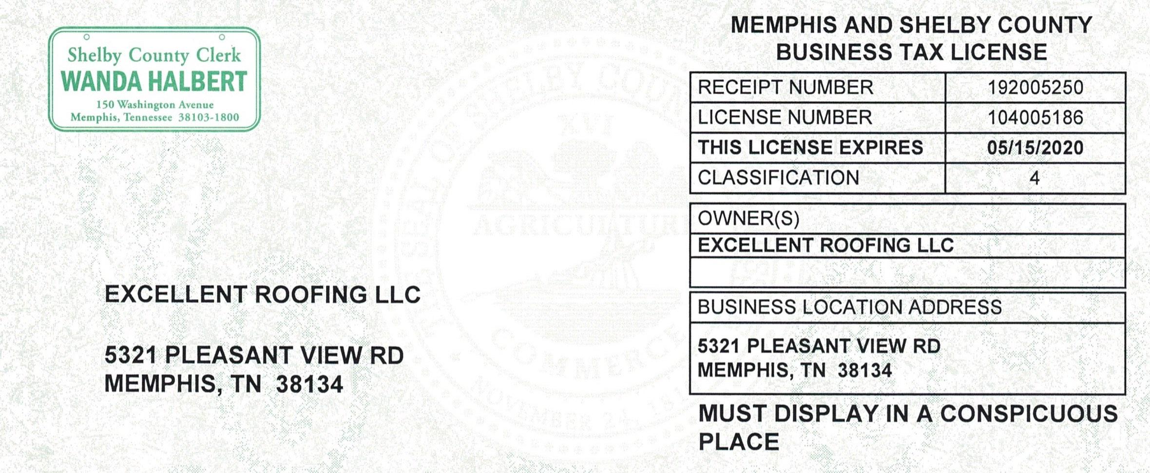 Excellent Roofing Tenn Biz License 2020